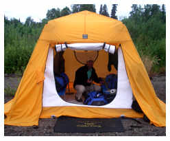 Custom built dining tent Alaska fishing lodge on fall Alagnak river Alaska float trip