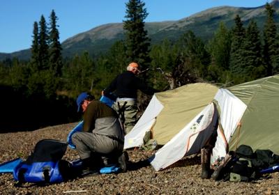 Camping on rafting trip in Alaska